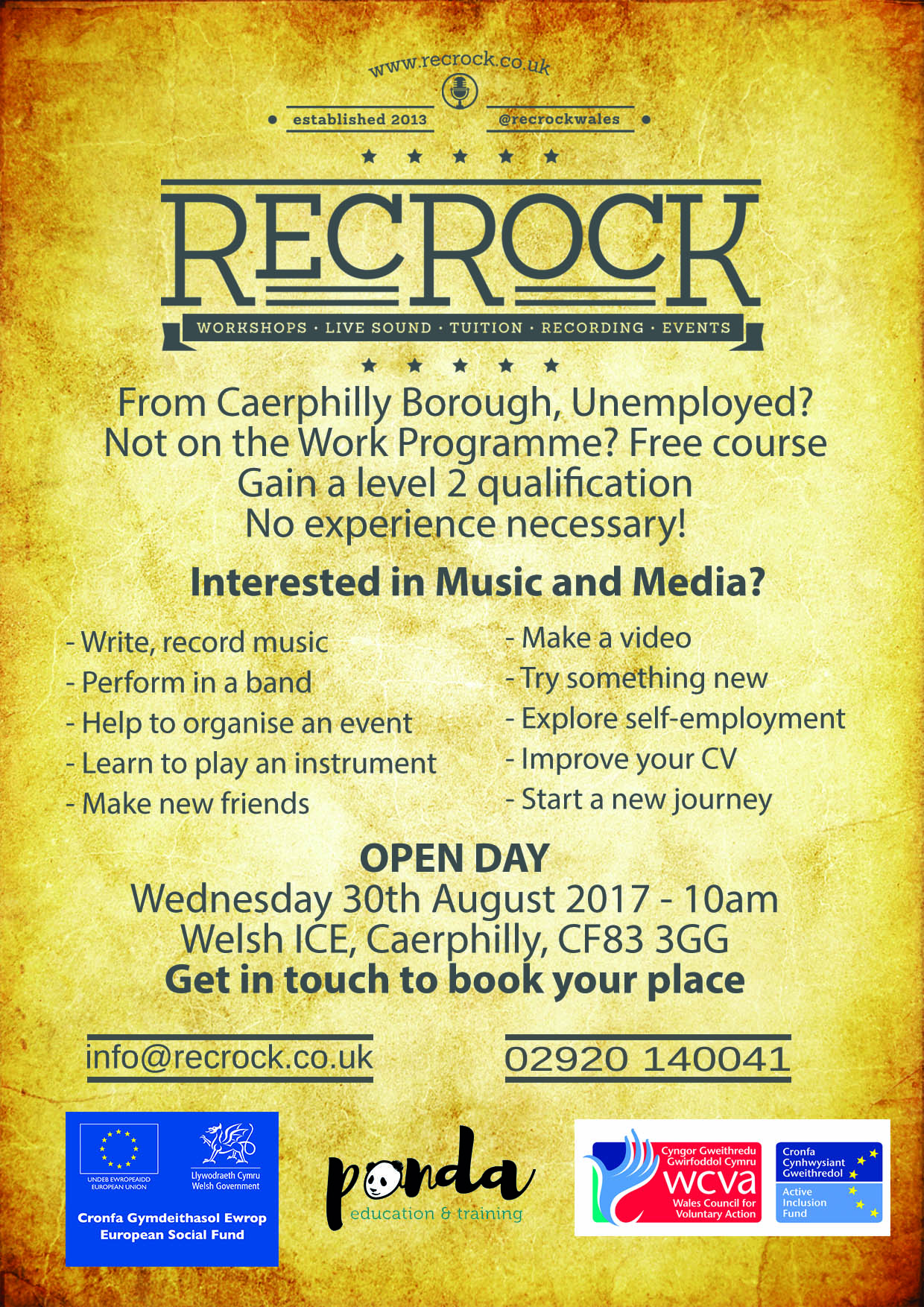 RecRock open day, 30th August 2017 - 10am - Book your place